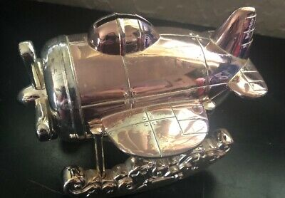 Vintage Reed & Barton Silverplate Seaplane Coin Bank Mint