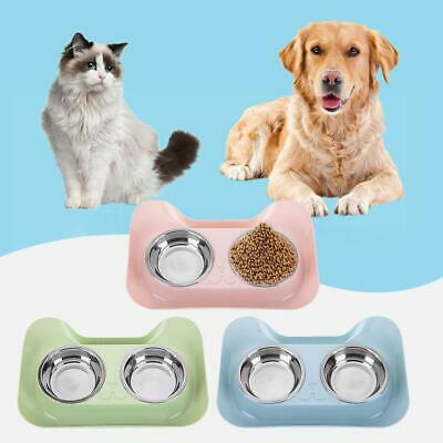 Double Dog Cat Bowls Puppy Food Water Feeder Pets Stainless Steel Feeding Dish