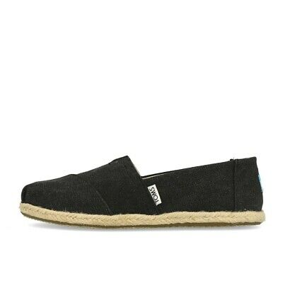 TOMS Womens Classics Black Washed Canvas Rope Sole Schuhe Slipper Espadrilles