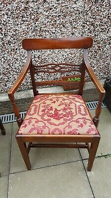 Antique mahogany William IV carver Armchair Study Library chair Drop in seatpad
