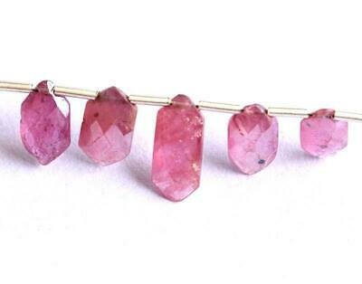 Natural Pink Sapphire Beads Faceted Fancy 59 - 4.5X10.5 Mm Gemstone - 5 Pcs#1145