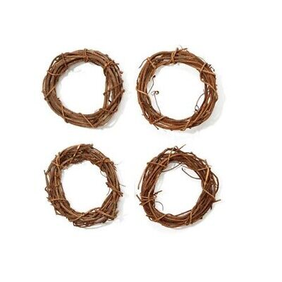 Brown Grapevine Wreath Round- 8 inches- SET OF 4