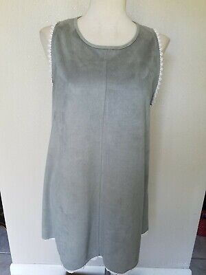 Paper Crane Anthropologie Faux Suede High Neck Gray Tunic Dress Size Large