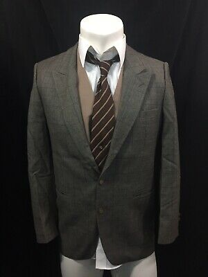 Yves Saint Laurent Jacket Blazer Virgin Wool Glen Plaid 40short