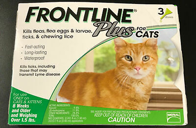 FRONTLINE PLUS FOR CATS Authentic, EPA APPROVED  3 MO FREE SHIPPING ! NO BOX
