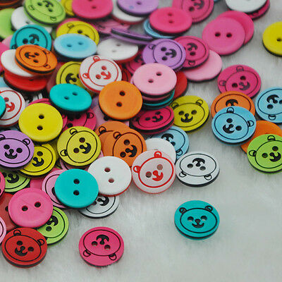 100 pcs Bear Plastic Buttons Kid's Clothes Accessories Sewing Crafts PT08