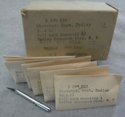 7 VTG Sealed NOS w Box Dental Elevator Root Luxator No E 21 Dudley Corp 1952 Tip