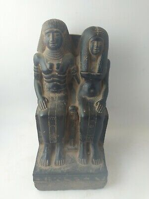 RARE ANCIENT EGYPTIAN ANTIQUE Egypt Ahmose Ii and Queen Nefertari Stone 1500 Bc