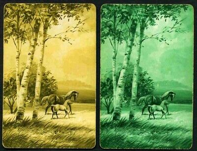 Two Single Vintage Playing/Swap Cards  HORSES IN THE FIELD
