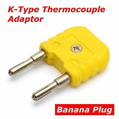 K-Type Thermocouple Adaptor Mini K Type to Round Banana Plug Thermometer Yellow