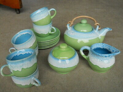 15 Piece Dadoos Blue Green Drip Glaze Stoneware Pottery Teapot Mugs Plates India