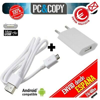 R560 Cargador USB de pared con cable para ANDROID movil tablet smartphone blanco