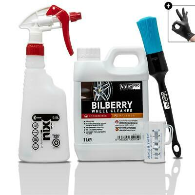 ValetPRO Bilberry Wheel Cleaner 1L Felgen Pinsel Messbecher KWAZAR Sprühflasche
