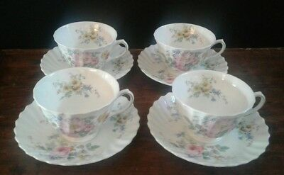 Royal Doulton Arcadia Pattern Teacup and Saucer Set of 4 Green Stamp