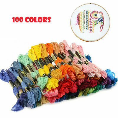 100PCS Multi Colors Cross Stitch Floss Cotton Thread Embroidery Sewing Skeins