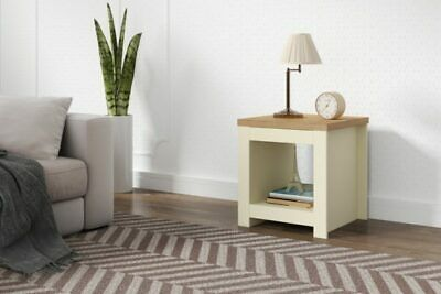 Winchester Classic Traditional Modern Simple Cream & Oak Wooden Lamp Side Table