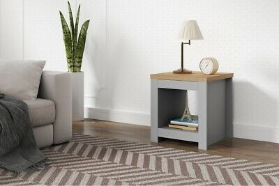 Winchester Classic Traditional Modern Simple Grey & Oak Wooden Lamp Side Table