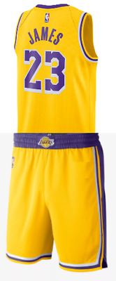 Completo Canotta/Jersey+Panta-Collezione-Basket-Nba-Los Angeles Lakers-James #23
