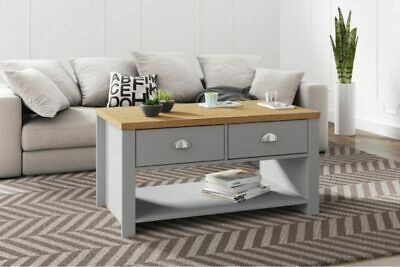 Winchester Classic Traditional Modern Grey & Oak Wooden 2 Drawer Coffee Table