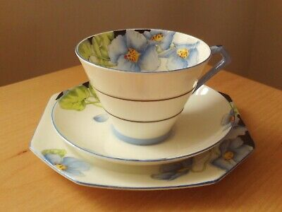 "Vintage Art Deco Paragon China ""Iceland Poppy"" Cup Saucer & Tea Plate Trio."