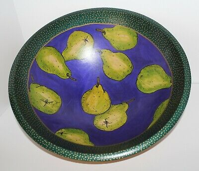 """Bowl 15"""" Wood Hand-Crafted/Painted Vintage Janis Childs Artist Signed Food Safe"""