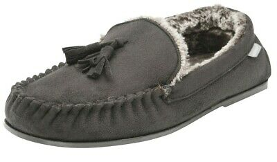 Mens British Designed Grey Faux Suede Moccasin Warm Soft Faux Fur Lined Slippers