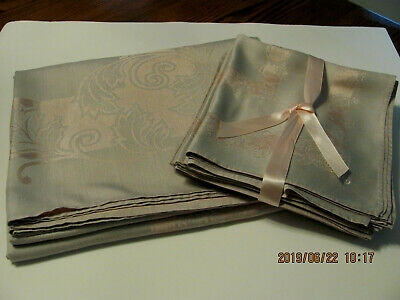 Vintage Silver Gray Mauve Pink Rayon Cotton Damask Tablecloth 60x100 10 Napkins