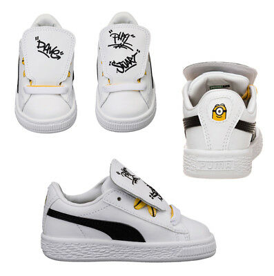 f891586993815d Puma Minions Basket Tongue Infant Toddlers Trainers White Shoes 365152 01  D31