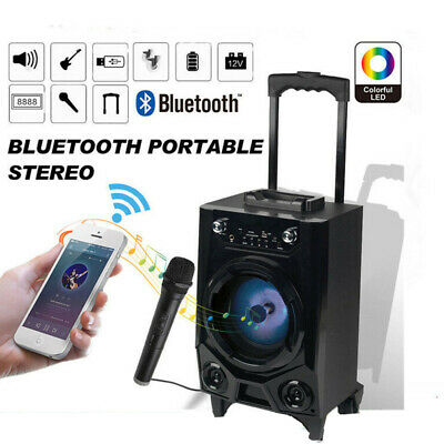 Bluetooth BT Party Speaker System Big Led Portable Stereo Tailgate Loud w/ Mic