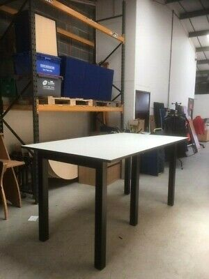 Draughtsman High Table Work Bench Standing Height White Black 2200mm