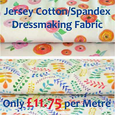 Stretch Cotton Spandex Jersey Dressmaking Fabric - Flowers, Leaves on White