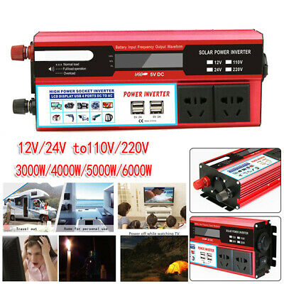 6000W Car Solar Power Inverter DC 12/24V To AC 110V/220V USB Sine Wave Converter