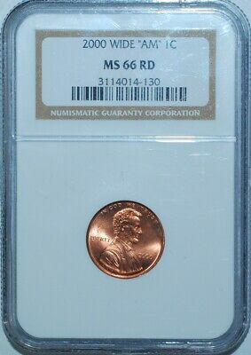 2000 NGC MS66RD Red Wide AM FS-901 Lincoln Cent
