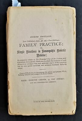 1800s antique FAMILY PRACTICE of HOMEOPATHIC DOMESTIC MEDICINE quack