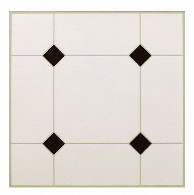 MAX CO LTD Black & White Peel & Stick Vinyl Floor Tile, 12 x 12-In. KD0309