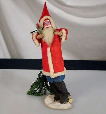 Vintage Antique Santa Claus Figurine with Christmas Tree - 56532
