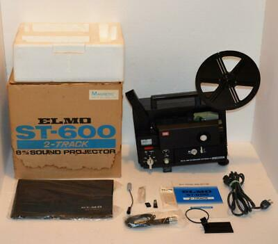 ELMO ST-600 2-Track 8mm Sound Movie Projector w box dust cover manual serviced