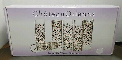 Set Of 6 Cheers Boxed  Glass Shooters Shot Glasses Home Essentials New In Box *Q