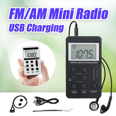 FM/AM Mini Radio Pocket Receiver Portable Digital LCD Stereo Earphone Set USB AU