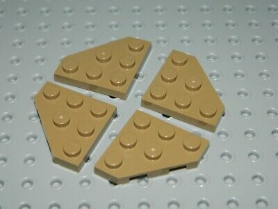 LEGO Lot of 4 Black 3x3 Cut Corner Plates