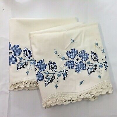 ESTATE VTG Handmade PILLOWCASES Blue Cross Stitch FLOWER PATTERN Standard