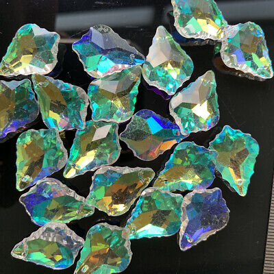 20Pc Maple Tree Leaf XMS Glass Aurora CRYSTAL Beads Pendant Chandelier Part 20MM
