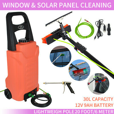 20ft Telescopic Water Fed Cleaning Pole + 30L Water Tank Solar Panel Cleaning