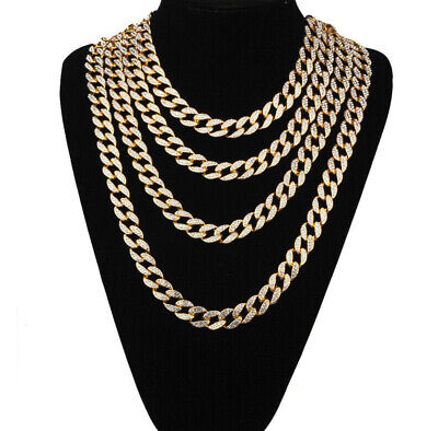 15MM Fashion Mens Link Gold Silver Curb Cuban Chain Hip Hop Necklace 18-30inch