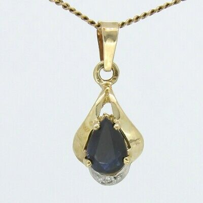 SAPPHIRE & DIAMOND PENDANT Genuine Natural Gems in Real 9k YELLOW GOLD