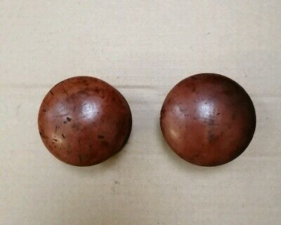 Pair of Antique Victorian Boxwood Turned Wooden Knobs
