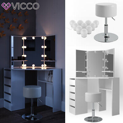 Vicco Coiffeuse d'angle Arielle table de maquillage LED blanc + tabouret
