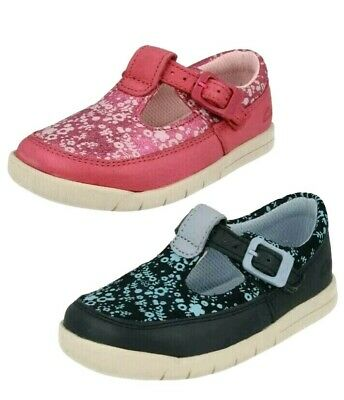 Brand New Clarks Girls Infants First Pink/Navy Leather Shoes size UK 6-6.5-7 F,G