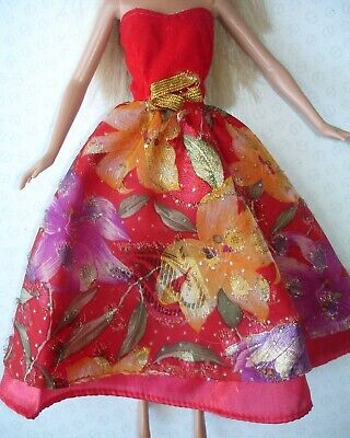 Vintage Barbie Doll Clothes - Dark Red Yellow Lilac Strapless Floral Dress
