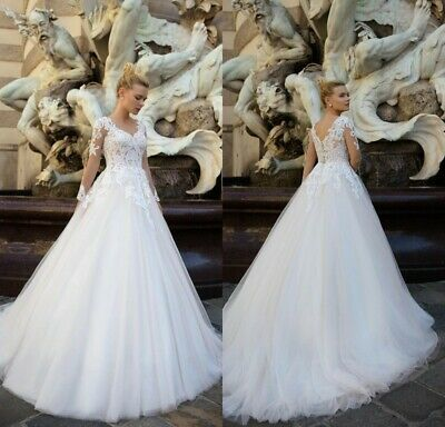 3738b6625dc7 White Simple V-Neck Beads Wedding Dresses Bridal Ball Gowns A Line Long  Sleeves